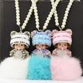 Fashion Cute Panda Kiki Diamond Ornaments Kiki Rabbit Ball Monchichi Key Buckle
