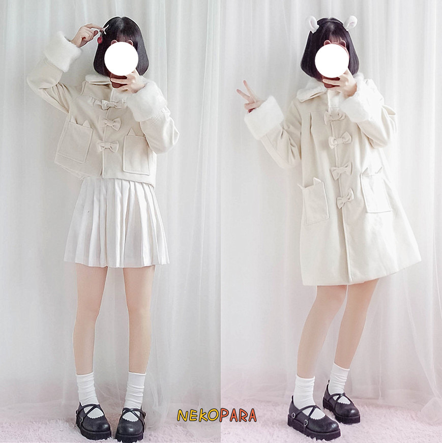 Long Et Hiver Col Mignon Red long Fourrure Outwear White Couleurs Amovible Carré short Poignets Bowknot Lolita Doux Manteau Chaud Type 2 White Chat AwwPT