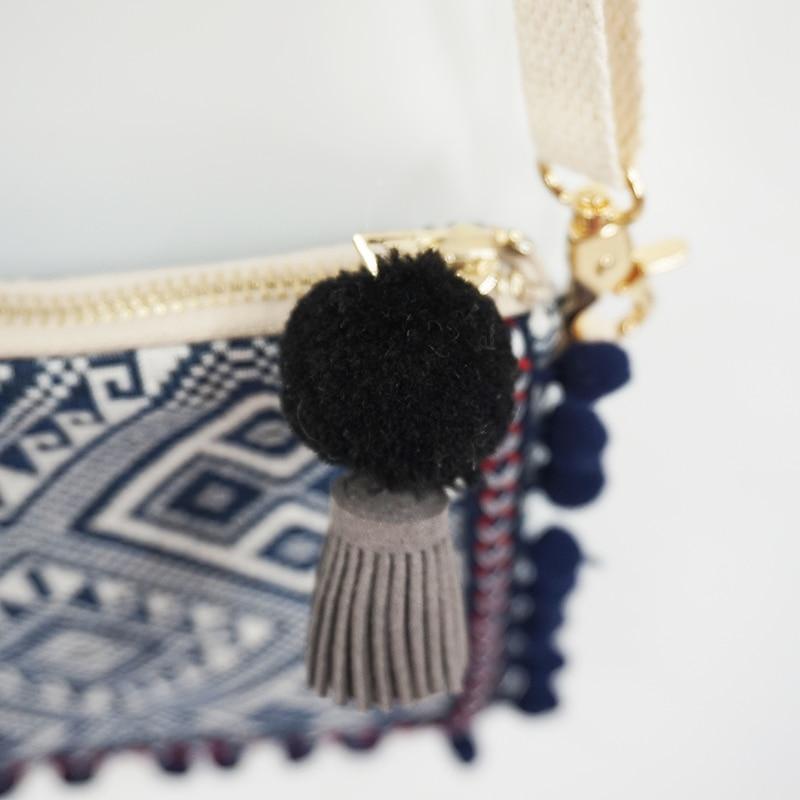 Women's Geometric Ornament Pom Pom Messenger Bag 1