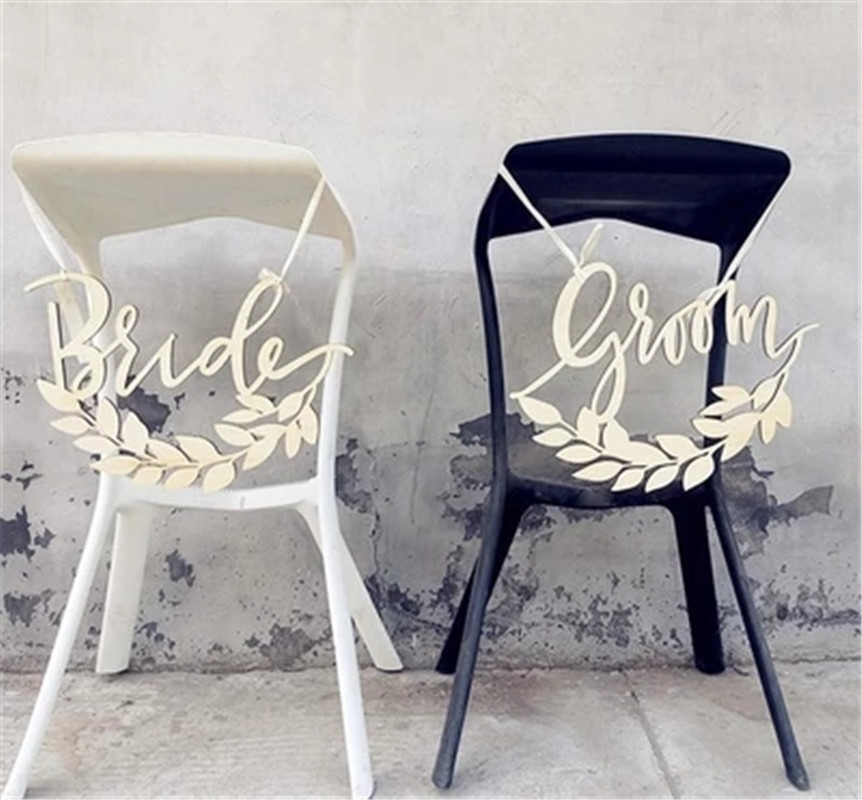 Wedding Supplies Wooden Wedding Chair Signs Vintage Bride And Groom Hanging Signs Decorative Home Furniture Diy Brucebibee Com