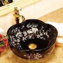 Lavabo de cerámica chino superior, lavabos de cerámica Vintage hechos a mano, porcelana artística China