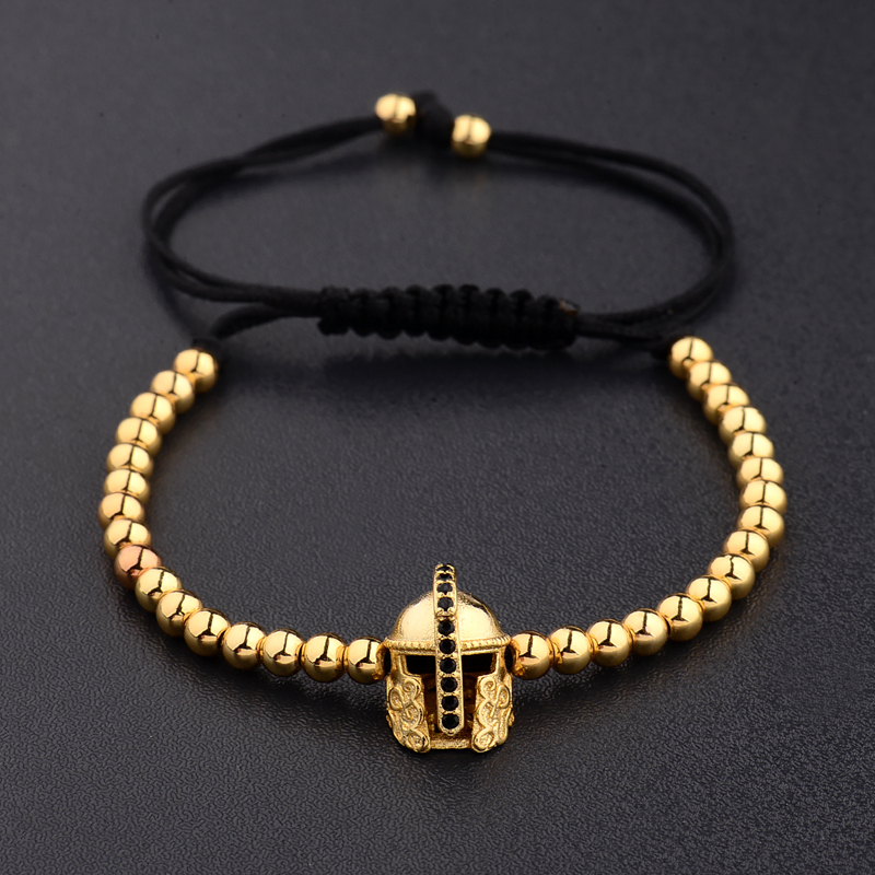 Fashion Knight Helm Sparta Warrior CZ Crystal Charm Men Bracelet Pave Copper Beads Macrame Bracelet Jewelry pulsera hombres
