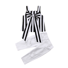 Toddler Child Kids Baby Girls Clothing Sleeveless Cotton Tops Shirt Big Bow Stripe Pants Summer Clothes 2PCS Set Girl 2-7T