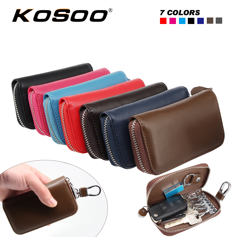 KOSOO Multifunctional Zipper Man&Woman Genuine Leather Waist Hanging Purse Car Key Wallets For Hyundai For Chery For Skoda Fabia