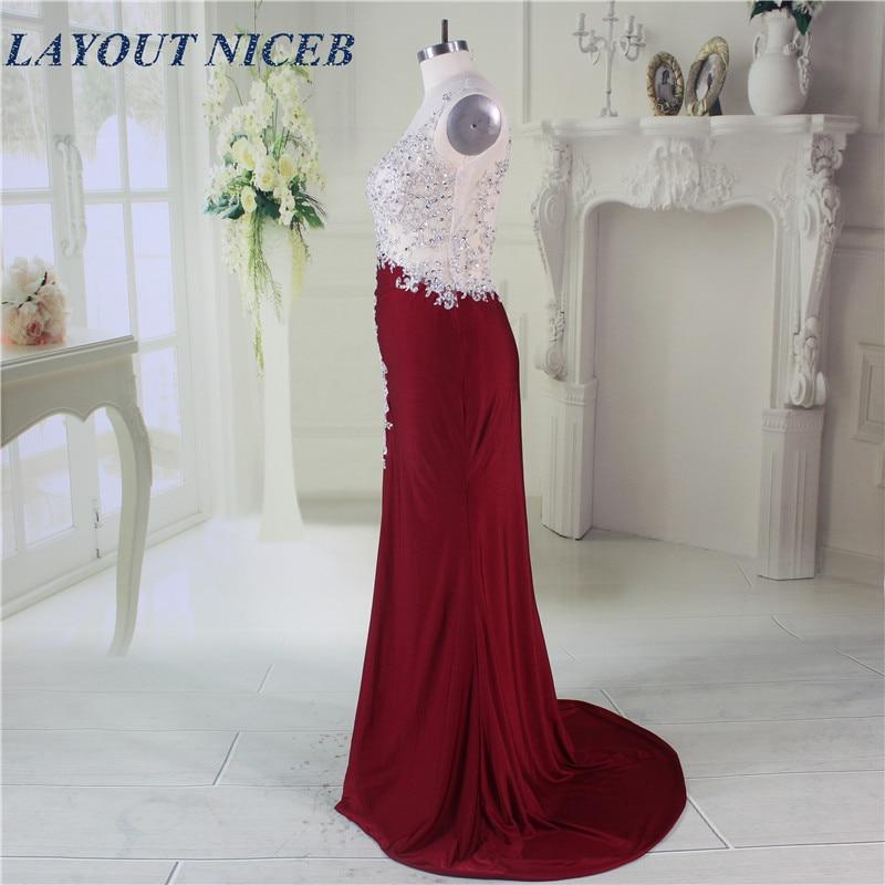 Elegant Robe de Soiree Illusion Neckline Forsiden Split Sexy Burgundy - Spesielle anledninger kjoler - Bilde 3