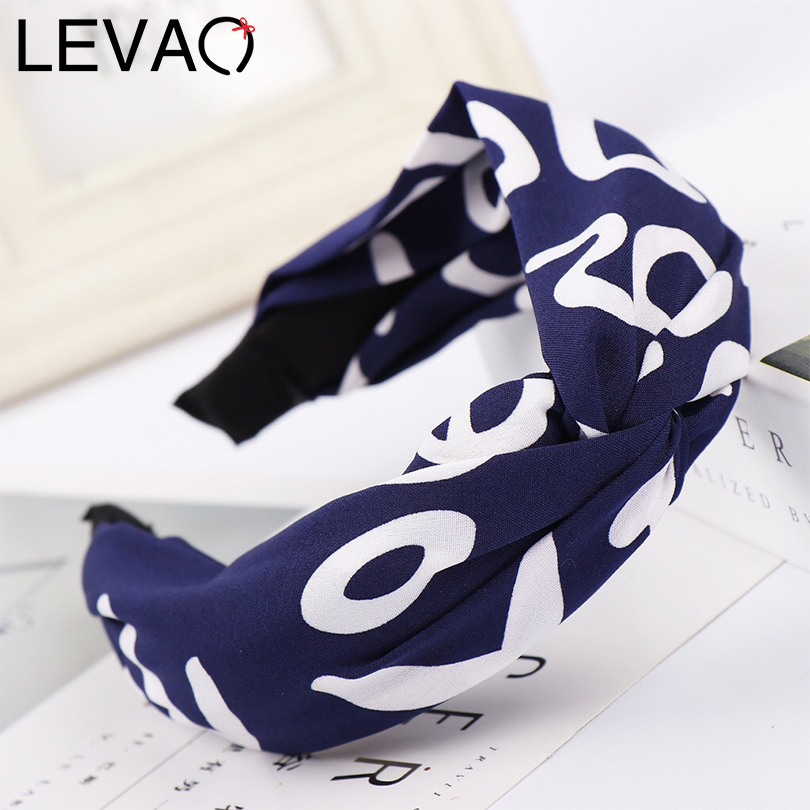 LEVAO Wide Size Cross Print Knot Letter Headband Hair Ornaments Bezel Turban Girls   Headwear   Women Hairband Hair Hoop Accessories
