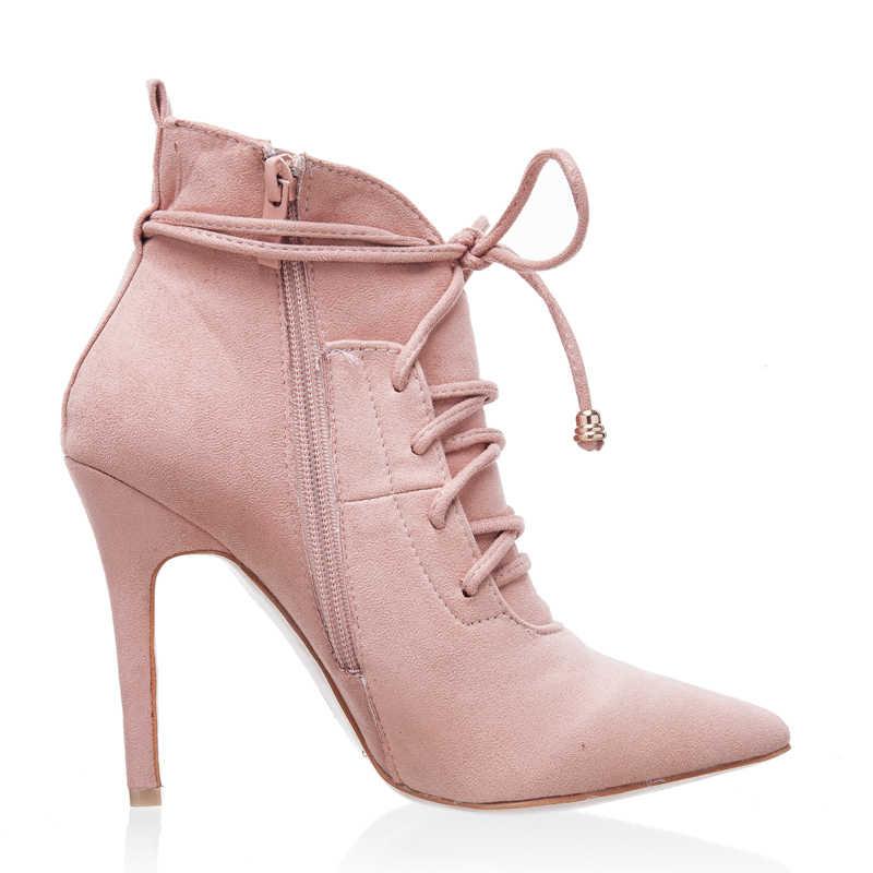 Parkside vento sexy feminino festa de salto alto couro do plutônio apontou toe botas de inverno designer cross-amarrado feminino tornozelo sapatos XWC0883-50
