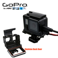 Go Pro 4 Accessories Skeleton Protective case Housing Side-opening Backdoor with hole Black Out with lens glass for GoPro Hero 4
