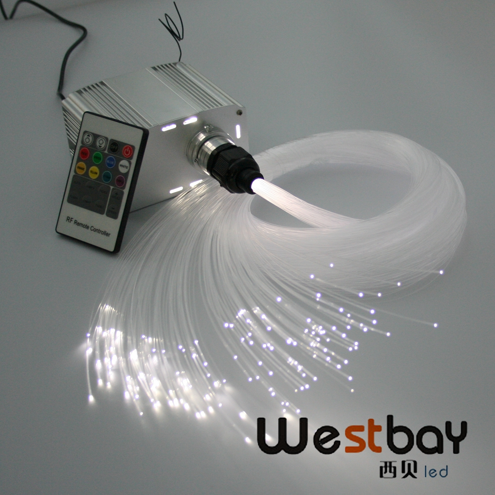 купить Free shipping LED Fiber Optic Star Ceiling Lights Kit 200pcs 0.75mm 2M optical fiber+7W white twinkle Light Engine+ RF Remote онлайн