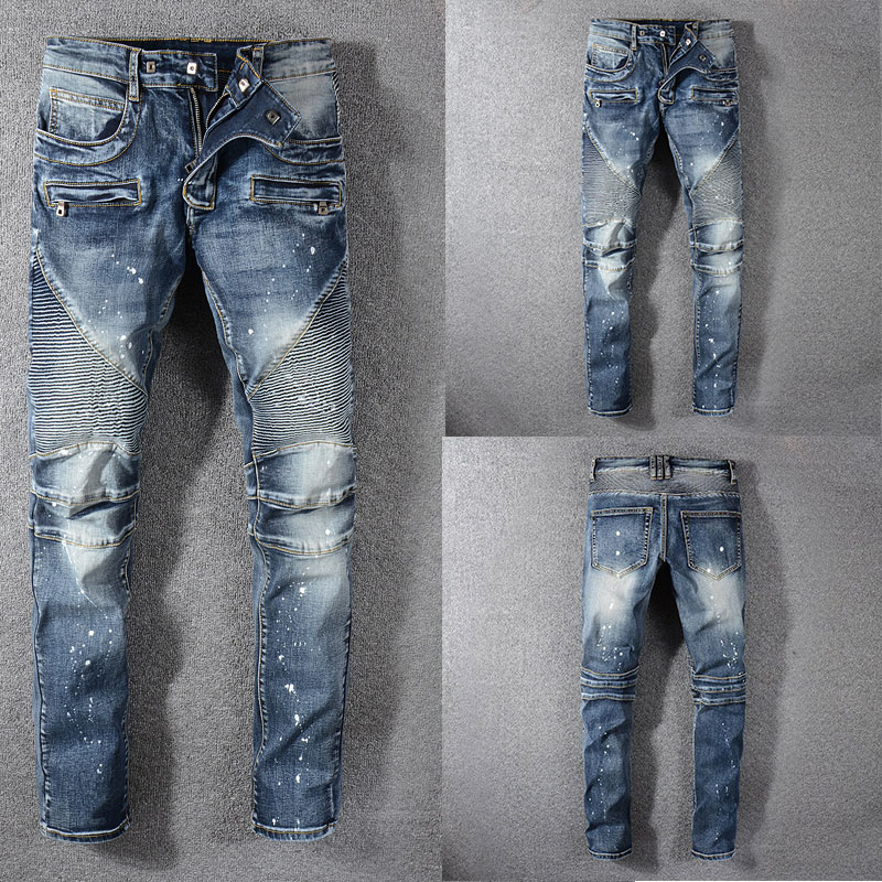 Italian Style Fashion Skinny Jeans Stretch Casual Men New Designer Classical Blue Color High Quality