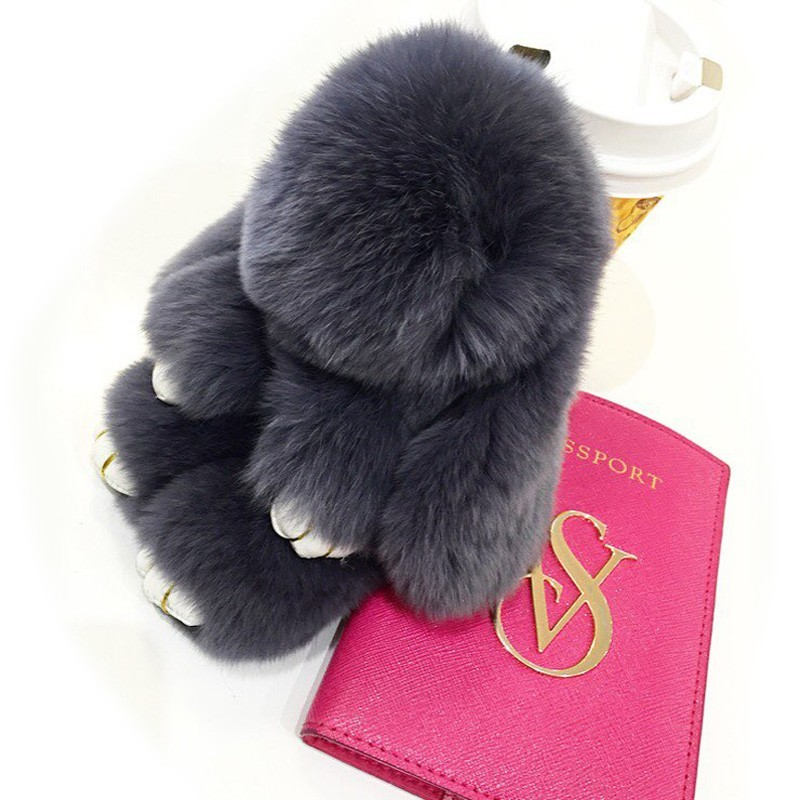 Fluffy Real Dovşan Kürk Pompon Bunny AnahtarlıkTrinket Qadın - Moda zərgərlik - Fotoqrafiya 4