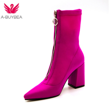 2018 Autumn rose Women Sock Boots Stretch Fabric Pointed Toe High Heels Ankle Boots Stiletto Botas Mujer Chunky Heel Zipper up