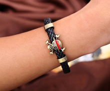 Anime Bracelet One Piece Skull Naruto Unisex Leather Woven Style Bangle