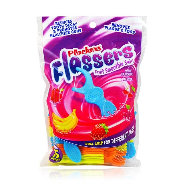 3packs Plackers Child dental flosse kids baby fruit taste fluorine dental flossers for kids