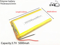 Free Shipping 3 7V 5000 MAh 6560110 Polymer Rechargeable Lithium Li Battery For GPS Ipod PSP