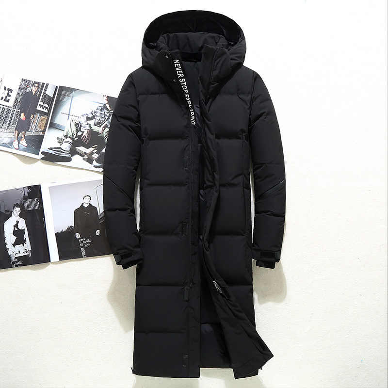 Chaquetas acolchadas Extra pato largo abajo con capucha para hombre Abrigos gruesos de invierno para hombre moda abrigo largo para mantenerse caliente