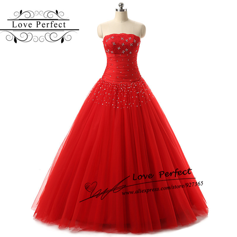 Red Tulle Quinceanera Dresses 2016 Lace Top Beading Masquerade Ball Gowns A Lien Floor Length Red