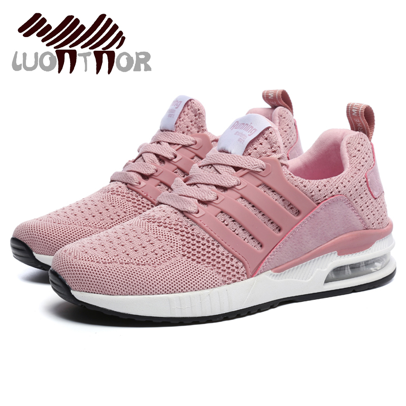 LUONTNOR Cushioning Pink Sneakers Women Running Shoes 2019 Professional Sports Shoes For Jogging Female Cushion Trainers Green