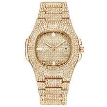Mens Watches Fashion Diamond Automatic Date Quartz Watch Women Gold Stainless Steel Business Men Watches Top Brand Luxury clocks цена в Москве и Питере