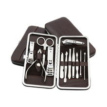 12pcs Portable Manicure Set Pedicure Scissor Tweezer Knife Ear Pick Utility Nail Clipper Kit Stainless Steel Nail Care Tool