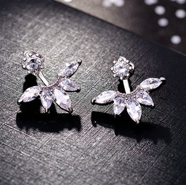 2019 New SALE 925 Sterling silver Flower Carved Earrings Female Crystal from Aus