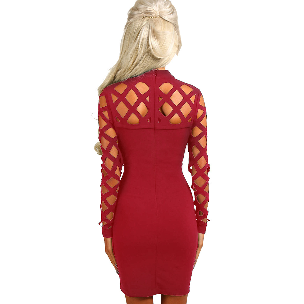Women 39 s Spring Summer Autumn long sleeve hollow out holes sexy vestidos Turtle Neck women sheath bandage dresses in Dresses from Women 39 s Clothing
