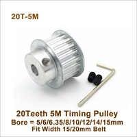 POWGE 20 Denti 5M Timing Puleggia Bore5/6/6.35/8/10/12/14 /15 millimetri Fit W = 5/20mm HTD5M Cinghia di Distribuzione 20 T 20 Denti 5M Sincrono puleggia BF