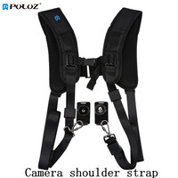 PULUZ Fashionable Durable Nylon Material DSLR Professional K Pattern Camera Double Shoulder Strap Black Adjustable Belt