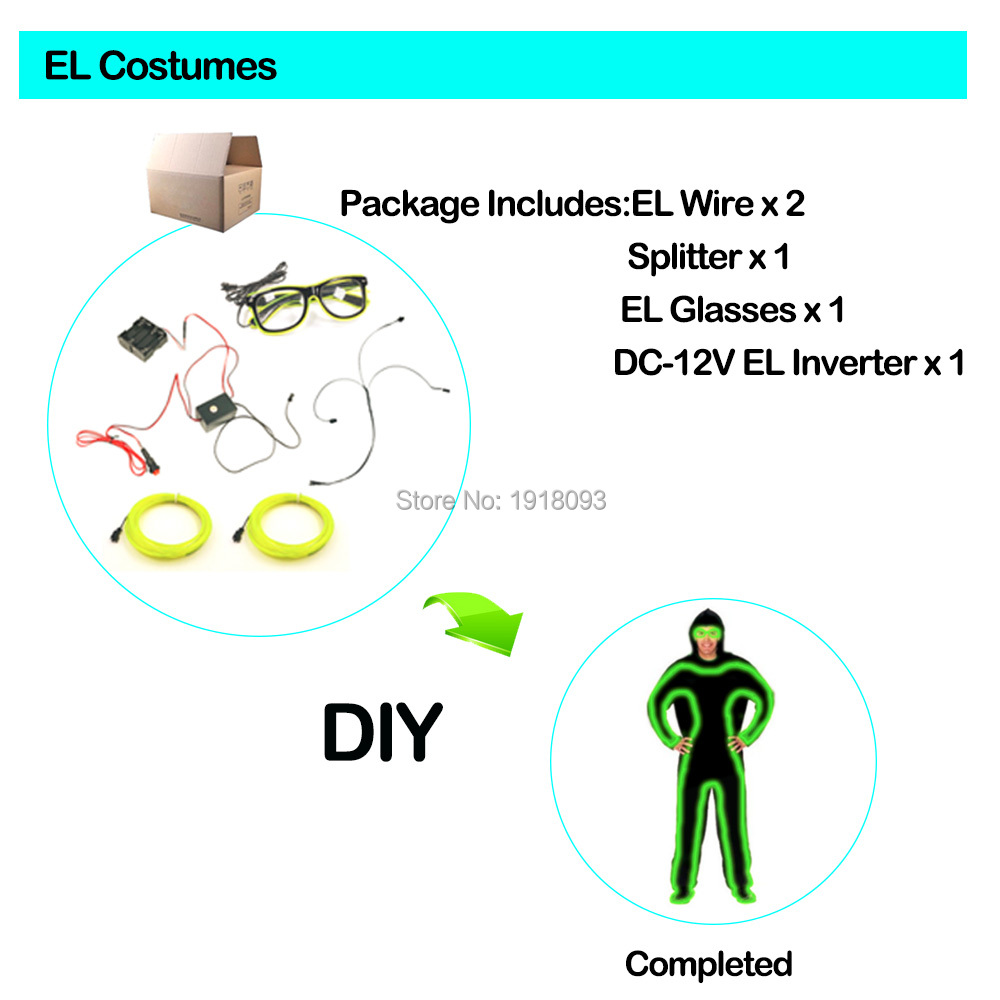 For Festival Performance Talent Show DIY Props EL Suits LED Costumes 10 Lighting Colors Choice LED Lighting Clothing