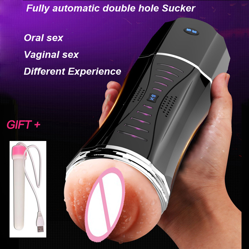 Daul Hole Oral Male Electric Hands Free Masturbator for man Artificial Vagina Vibrating Real Pussy vibrator Sex Toys For Men gay наклейки three comrades 2015