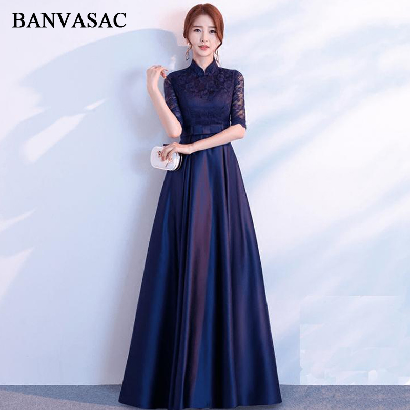 BANVASAC 2018 Vintage High Neck Lace Embroidery Long   Evening     Dresses   Party A Line Bow Sash Half Sleeve Prom Gowns