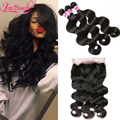 Peruvian Body Wave With Closure 7A Lace Frontal Closure With 3 Bundles 13x4 Peruvian Wavy Human Hair Weave With Frontal Closure