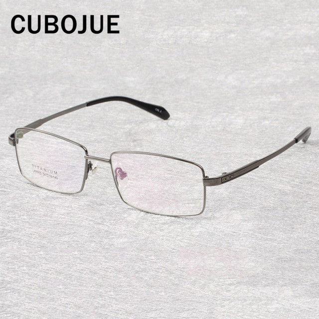 4fb1950cf8f Cubojue Titanium Eyeglasses Frame Men 54-18-140 Wide Face Prescription  Spectacles for Man Quality Fashion Eyewear Case Free Gold