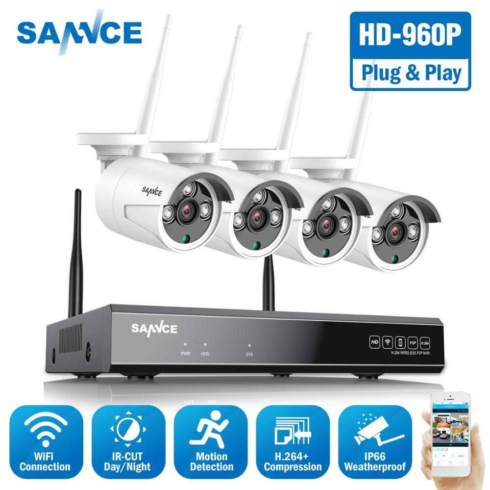 SANNCE 960P 8CH Wireless Security Camera System 4PCS IP66 Weatherproof Wifi Cameras Wi fi Home Video Surveillance CCTV Kit-in Surveillance System from Security & Protection