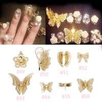 Estilo japonés 10 Uds. 3D champán mariposa flor encanto decoraciones brillantes joyas de aleación de metal diamantes de imitación para uñas tachuelas artísticas