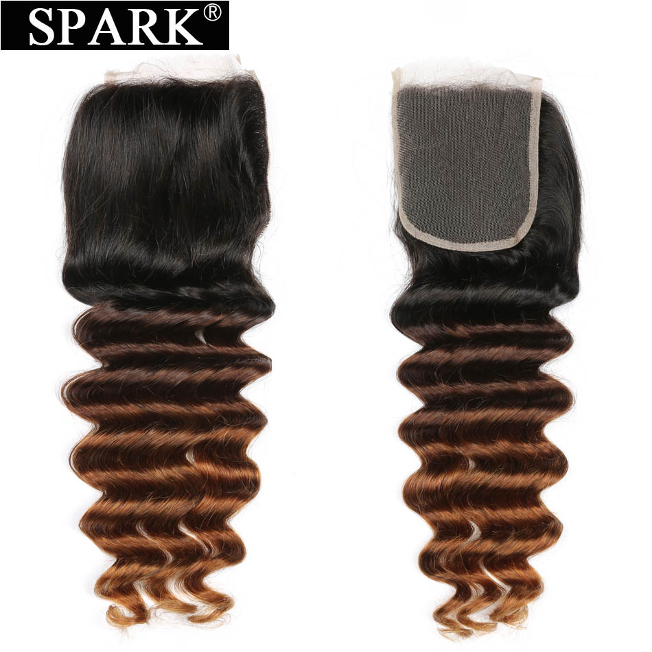 Spark Brazilian Deep Wave Lace Closure 3 Tone Ombre Remy Human Hair Swiss Lace Closure 10-22 inches Free/Middle Part T1B/4/30
