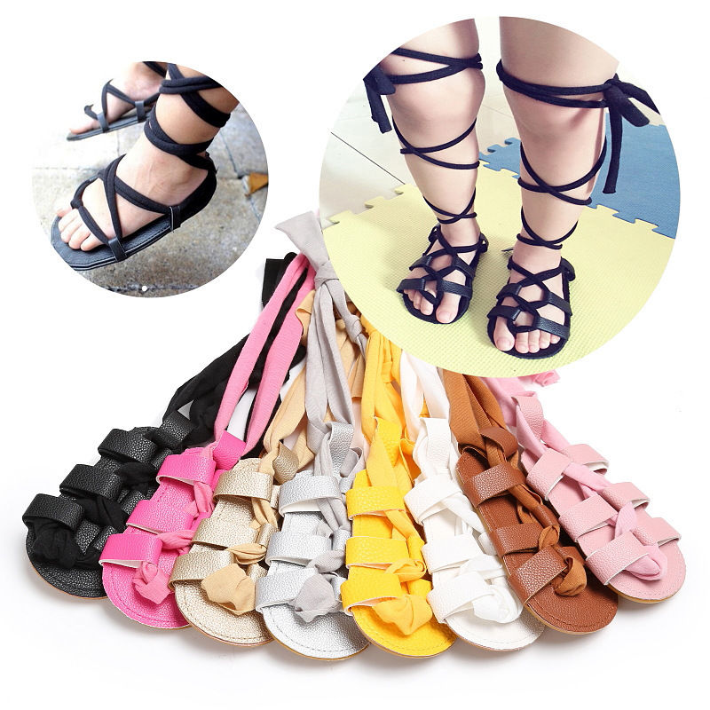 2017 New Fashion Newborn Infant Baby Girls PU Leather Bandage Sandals Summer Pram Flat Shoes