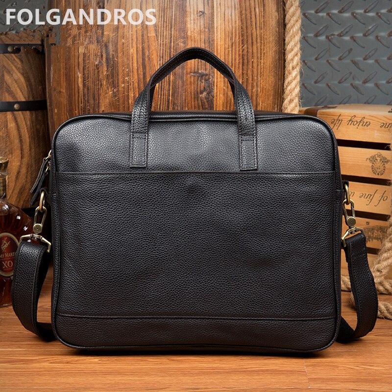 2018 en cuir véritable hommes noir porte-documents marque de mode affaires porte-documents italien grande capacité sacs pour ordinateur portable