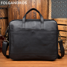 2018 genuine leather men black briefcases brand fashion business document briefcase italian large capacity laptop computer bags