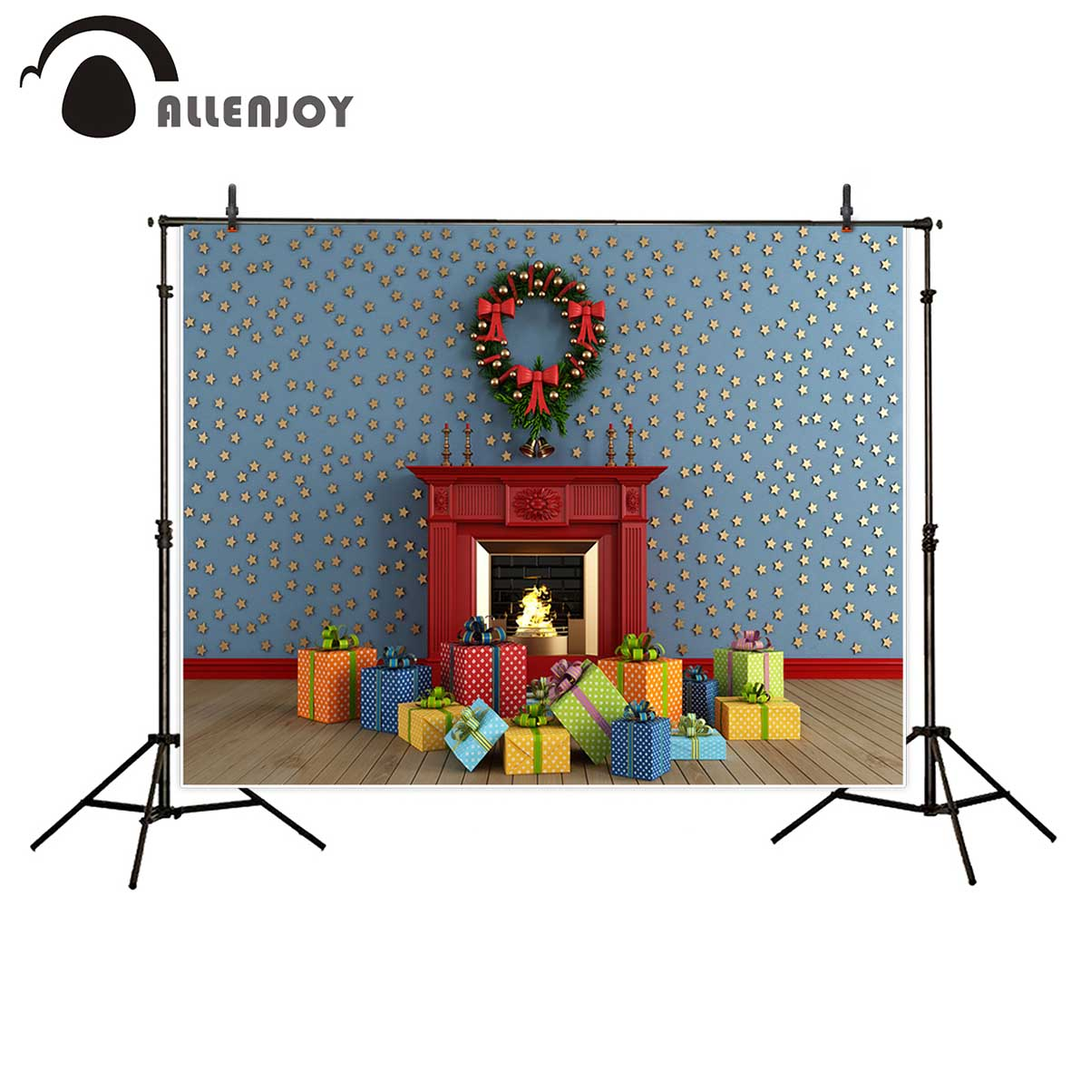 Allenjoy photography background Blue wall stars Christmas gifts fire stove backdrop Photo background studio camera fotografica allenjoy photography background blue red abstract christmas background golden stars glitter bokeh lights backdrop photo studio