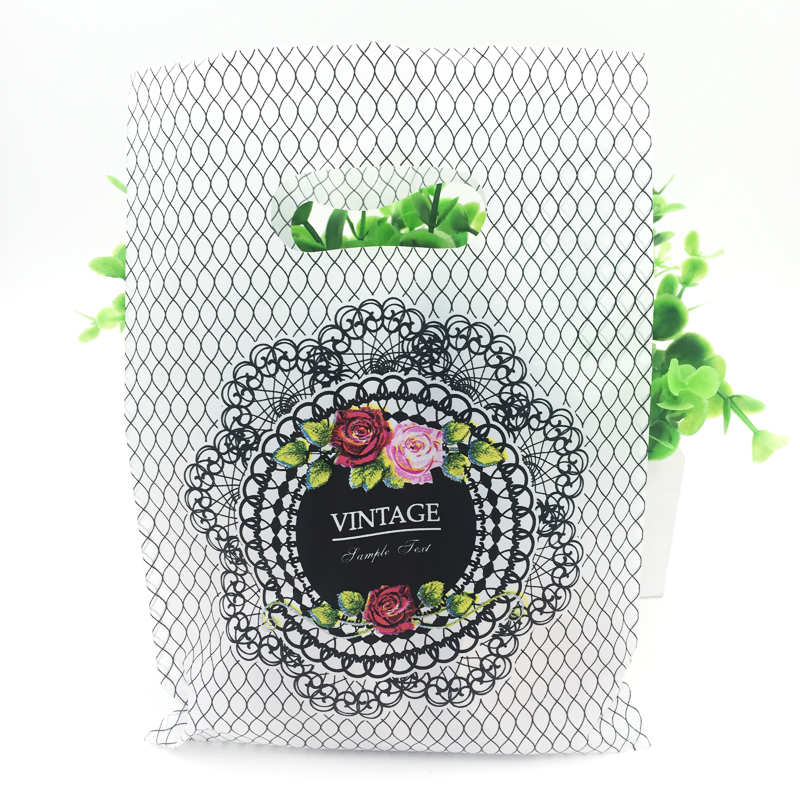 100pcs/lot 15*20cm Grid Flower Design Plastic Gift Bags Favor Jewelry Boutique Gift Packaging Plastic Shopping Bag With Handle