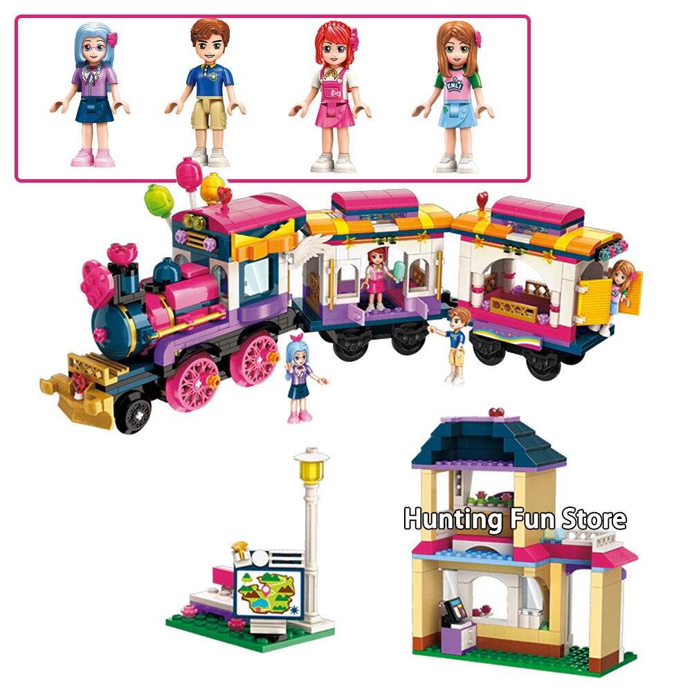 690 pz 2015 Fit Legoness Amici Set Felice festa tour treno Mini figure Minifig Blocchi di Costruzione di Modello Giocattoli Ragazze Creative
