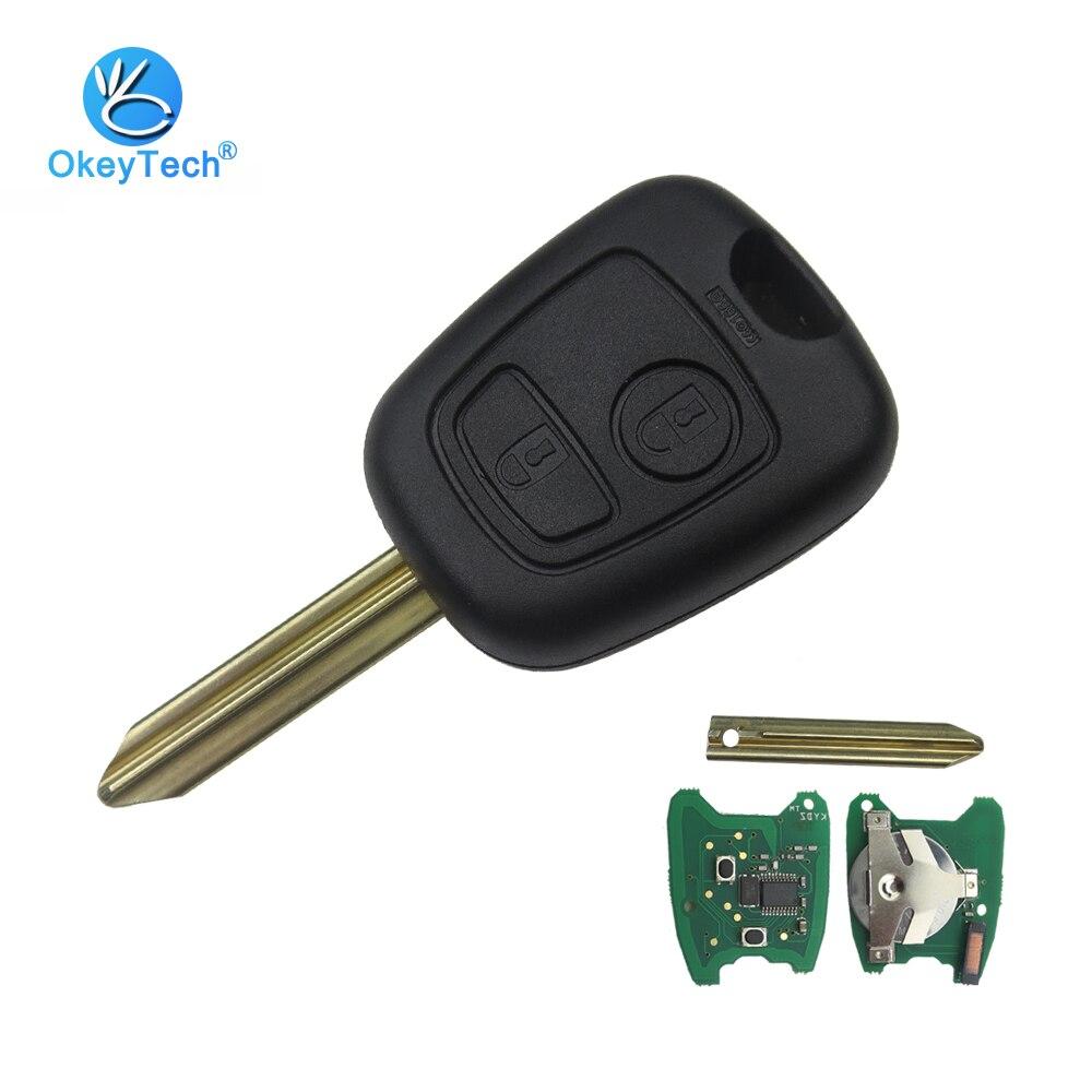 OkeyTech 2 кнопки 433 мГц ID46 электронный чип удаленного Управление Прокат брелока дело для Citroen Saxo Пикассо Xsara Berlingo SX9 лезвие