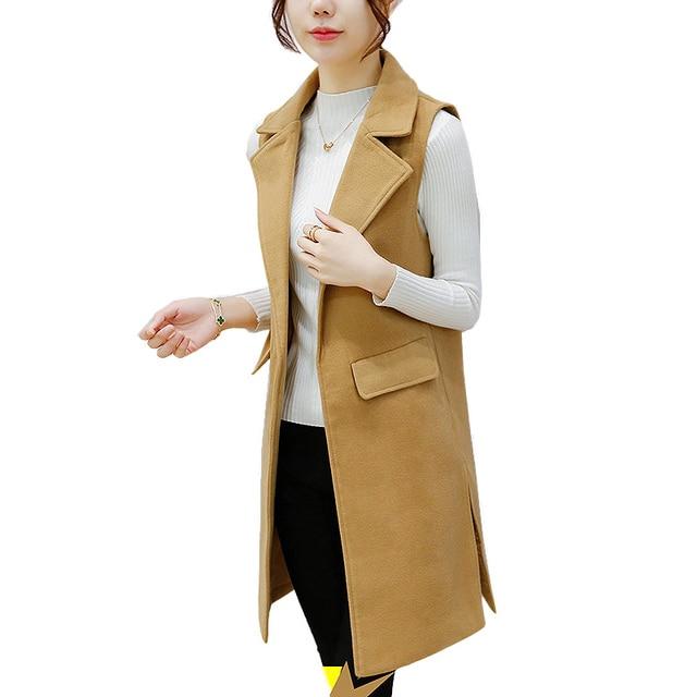 Autumn Winter women wool vest casual long khaki black veste femme plus size 3XL waistcoat chalecos mujer