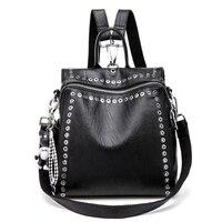 3 IN 1 Women Backpack Fashion PU Leather Lady Shoulder Bags With Mental Rivet Ladies Rucksack Shoulder Bag