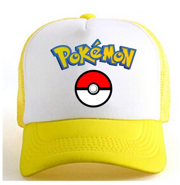 2017 Hot mobile game pokemon ir jogo fãs chapéu de basebol chapéu vermelho preto amarelo net cap meninos meninas presentes CA292-3