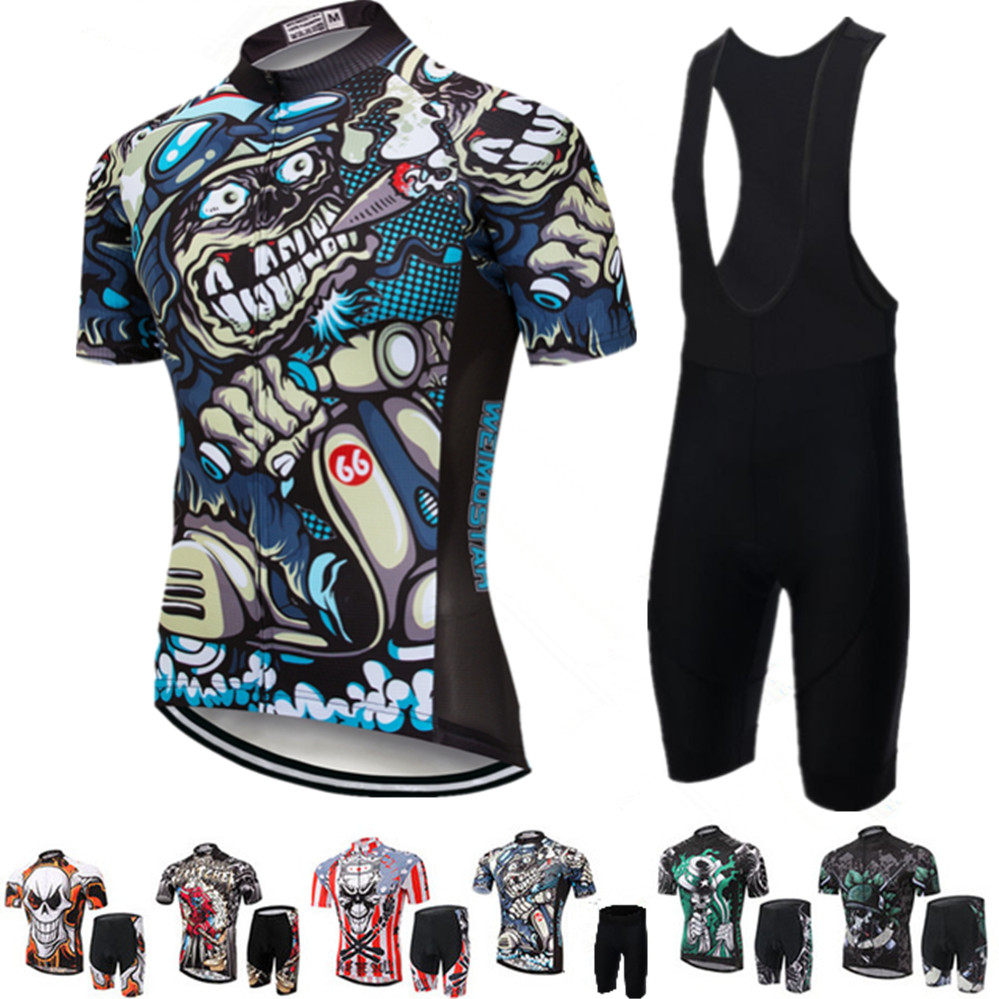 2018 Pro Bike Jersey Bib Shorts Sets Men mtb Bicycle Clothing Suits Skull Gray Summer Male Ropa Ciclismo Cycling Shirts summer 2017 cheji men and womens outdoor cycling jersey bike breathable bib shorts ropa ciclismo bicycle couples clothing sport suit