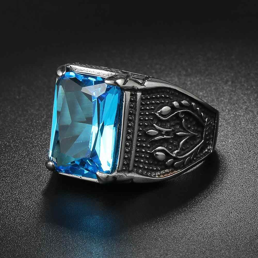 Jiayiqi Винтаж CZ камень мужские кольца в стиле панк кольцо из нержавеющей стали 316L для мужчин ювелирные изделия Высокое качество Мужские кольца с кристаллами