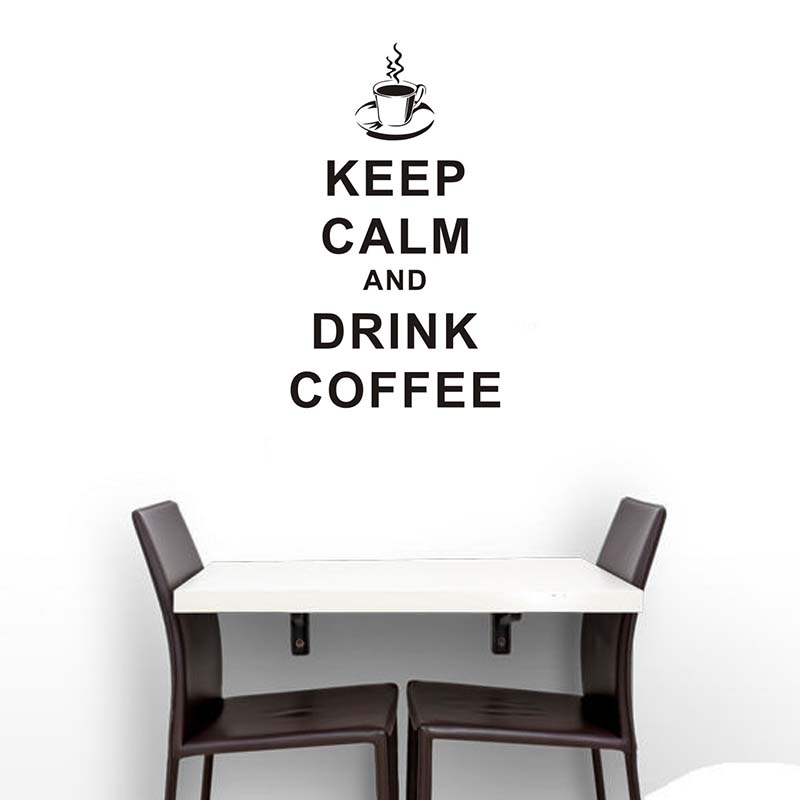 pvc removable keep calm and drink coffee english words home decor cucina vinyl wall sticker for