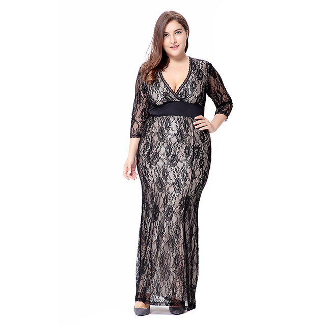 RIMIUT 6XL Big Plus Size Loose High Quality Lace Long Women Dress Black V-  Neck Sexy Hollw out Flower Night Party Fat MM Dresses b696080769f2